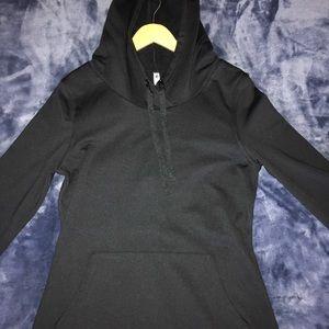 Fabletics Black Hooded Sweatshirt Dress